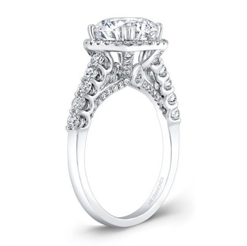 nk28366 18w side profile 1 500x499 - 18K WHITE GOLD DIAMOND HALO ENGAGEMENT RING