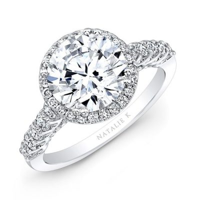 nk28366 18w three qrtr 1 3 400x400 - 18K WHITE GOLD DIAMOND HALO ENGAGEMENT RING