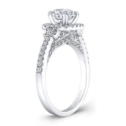 nk28668 18w side profile 1 2 500x499 - 14K DIAMOND HALO THREE STONE DIAMOND ENGAGEMENT RING