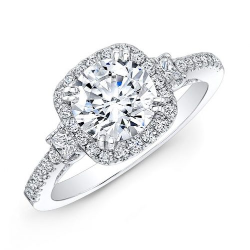 nk28668 18w three qrtr 3 1 2 500x499 - 14K DIAMOND HALO THREE STONE DIAMOND ENGAGEMENT RING