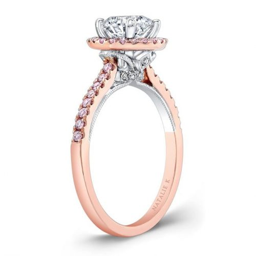 nk28671pk 18rw side profile 1 500x499 - 18K ROSE AND WHITE GOLD PINK DIAMOND HALO WHITE DIAMOND GALLERY ENGAGEMENT RING