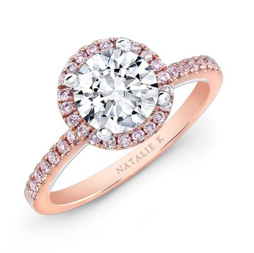 nk28671pk 18rw three qrtr 3 500x499 - 18K ROSE AND WHITE GOLD PINK DIAMOND HALO WHITE DIAMOND GALLERY ENGAGEMENT RING