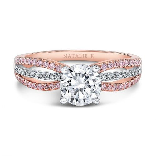 nk28687pk 18rw front fm 1 500x499 - 18K ROSE AND WHITE GOLD PINK AND WHITE DIAMOND SPLITSHANK DIAMOND ENGAGEMENT RING