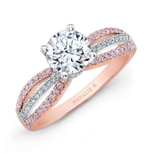 nk28687pk 18rw three qrtr 3 500x499 - 18K ROSE AND WHITE GOLD PINK AND WHITE DIAMOND SPLITSHANK DIAMOND ENGAGEMENT RING