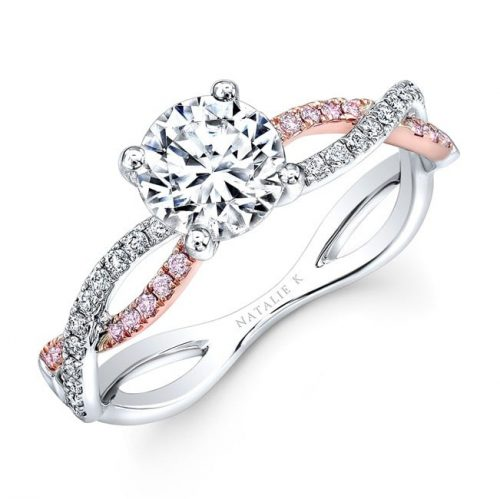 nk32784azd wr eng three qrtr 500x499 - 18K WHITE AND ROSE GOLD TWISTED SHANK DIAMOND ENGAGEMENT RING