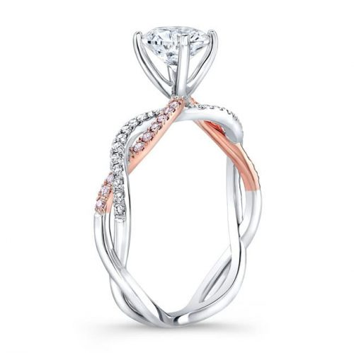 nk32784azd wr side profile 500x499 - 18K WHITE AND ROSE GOLD TWISTED SHANK DIAMOND ENGAGEMENT RING