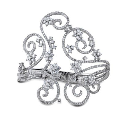 pave 400x400 - 18K WHITE GOLD SWIRL PAVE PRONG LADIES DIAMOND BANGLE