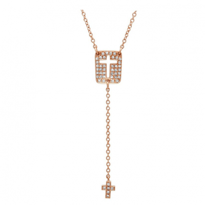 shy 13 400x400 - 0.16CT 14K ROSE GOLD DIAMOND CROSS NECKLACE SC55001630