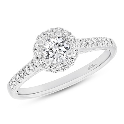 shy creation - 0.27CT 18K WHITE GOLD DIAMOND SEMI-MOUNT RING FOR 0.50CT CENTER