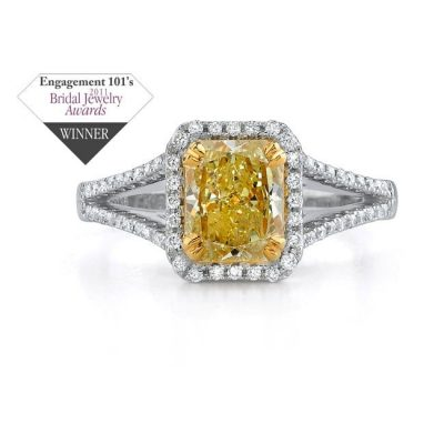 winner 400x400 - 14K WHITE GOLD SPLIT SHANK FANCY YELLOW SEMI MOUNT RING