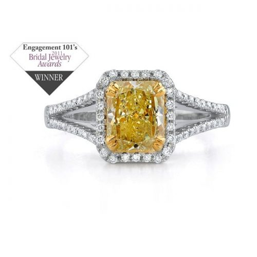 winner 500x500 - 14K WHITE GOLD SPLIT SHANK FANCY YELLOW SEMI MOUNT RING