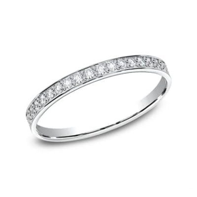 522800HFW P1 1 400x400 - ELEGANT WHITE  GOLD 2MM DIAMOND BAND 522800W