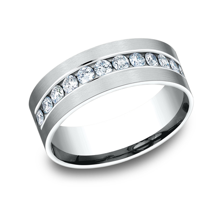CF528531W P1 - WHITE GOLD 8MM CHANNEL SET DIAMOND BAND
