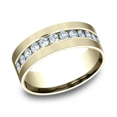 CF528531Y P1 400x400 - YELLOW GOLD 8MM CHANNEL SET DIAMOND BAND