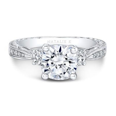 nk13889 w front fm 3 400x400 - 18K WHITE GOLD TAPERED MILGRAIN SHANK DIAMOND ENGAGEMENT RING