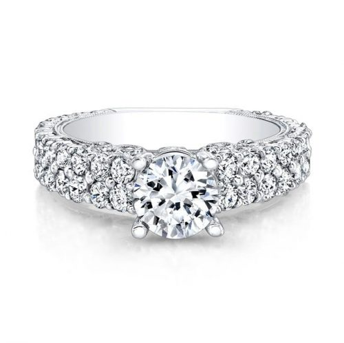 nk14739 w front 1 500x499 - 18K WHITE GOLD PAVE DIAMOND ENGAGEMENT RING