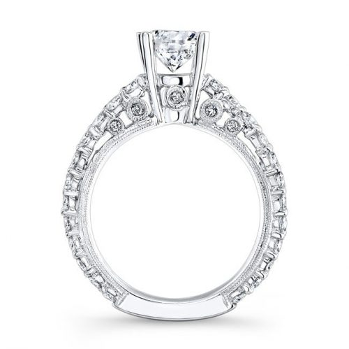 nk14739 w profile 1 500x499 - 18K WHITE GOLD PAVE DIAMOND ENGAGEMENT RING