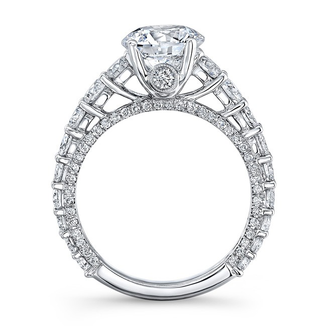 solitaire engagement diamond thin ring round classic platinum odiz shiree cut products pre set prong rings