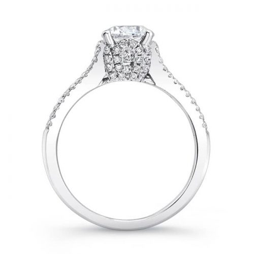 nk25692 w profile 1 500x500 - 18K WHITE GOLD PRONG AND CHANNEL SET WHITE DIAMOND ENGAGEMENT RING