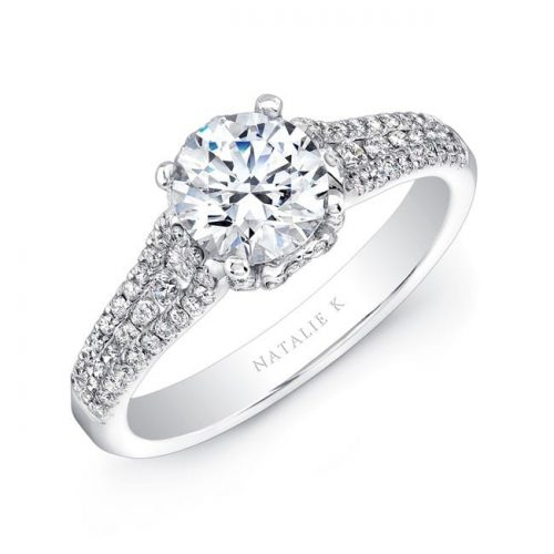 nk25692 w three qrtr 3 500x500 - 18K WHITE GOLD PRONG AND CHANNEL SET WHITE DIAMOND ENGAGEMENT RING