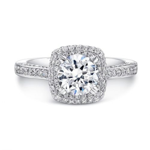 nk25727 w front 1 1 500x499 - 18K WHITE GOLD THICK PAVE HALO DIAMOND ENGAGEMENT RING
