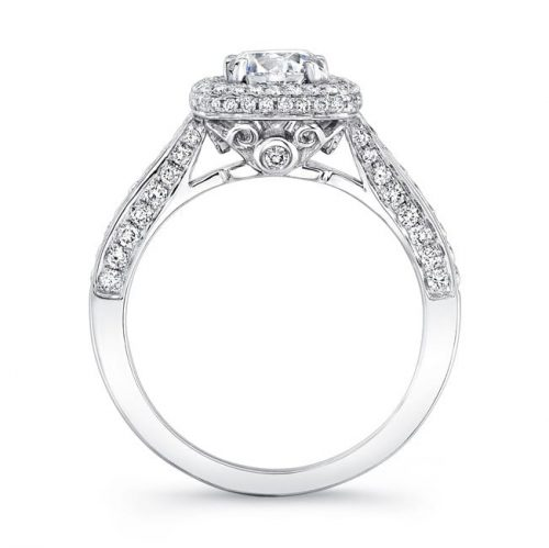 nk25727 w profile 1 1 500x499 - 18K WHITE GOLD THICK PAVE HALO DIAMOND ENGAGEMENT RING