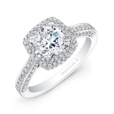 nk25727 w three qrtr 3 2 400x400 - 18K WHITE GOLD THICK PAVE HALO DIAMOND ENGAGEMENT RING