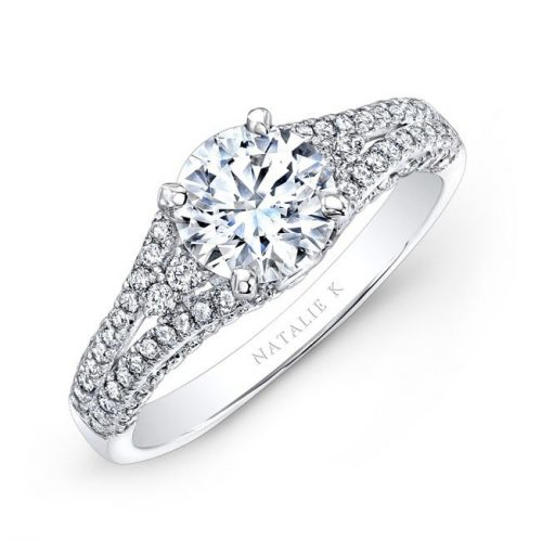 nk25790 w three qrtr 1 3 500x499 - 18K WHITE GOLD PRONG AND BEZEL SET WHITE DIAMOND ENGAGEMENT RING