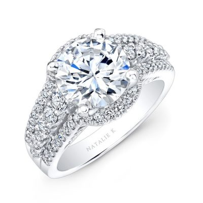 nk25875 w thrree qrtr 2 400x400 - PLATINUM FAUX HALO DIAMOND ENGAGEMENT RING