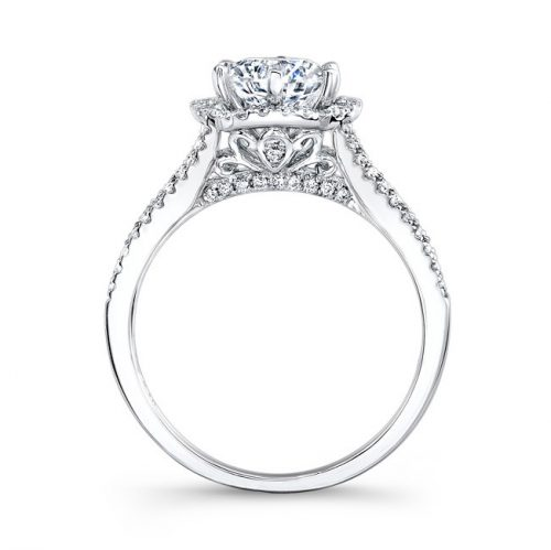 nk26224 w profile 2 500x499 - PLATINUM UNIQUE HALO DIAMOND ENGAGEMENT RING
