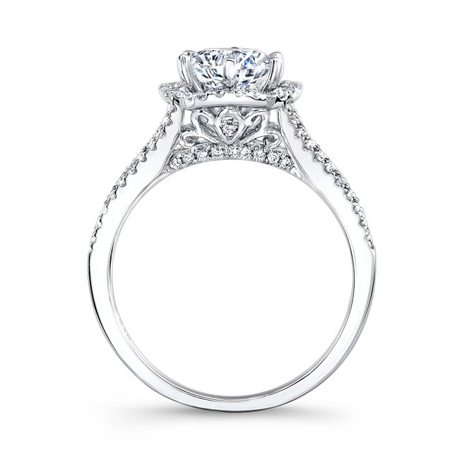 Platinum Unique Halo Diamond Engagement Ring Bova Diamonds
