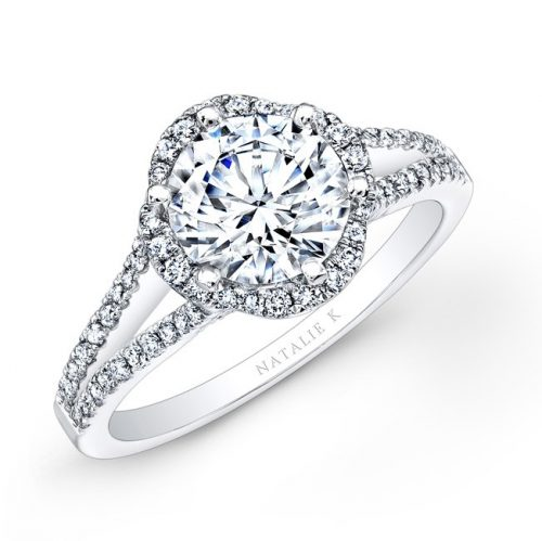 nk26224 w three quarter 4 500x499 - PLATINUM UNIQUE HALO DIAMOND ENGAGEMENT RING