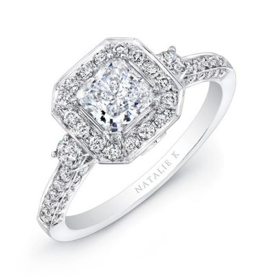 nk27063 18w three qrtr 3 400x400 - 18K WHITE GOLD ROUND DIAMOND SQUARE HALO DIAMOND ENGAGEMENT RING