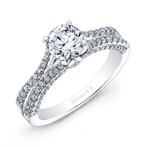 nk28057 18 w three qrtr 1 500x499 - 18K WHITE GOLD SPLIT SHANK PRINCESS CUT PAVE DIAMOND ENGAGEMENT RING NK28057-18W