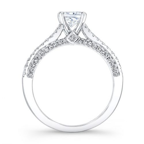 nk28057 18w profile 1 500x499 - 18K WHITE GOLD SPLIT SHANK PRINCESS CUT PAVE DIAMOND ENGAGEMENT RING NK28057-18W