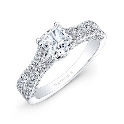 nk28057 18w three qrtr 1 3 400x400 - 18K WHITE GOLD SPLIT SHANK PRINCESS CUT PAVE DIAMOND ENGAGEMENT RING NK28057-18W