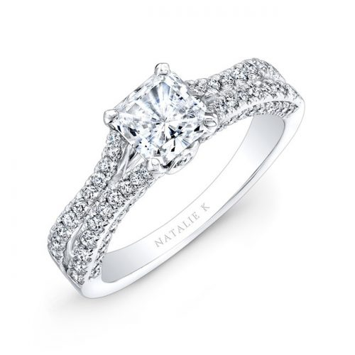 nk28057 18w three qrtr 1 3 500x500 - 18K WHITE GOLD SPLIT SHANK PRINCESS CUT PAVE DIAMOND ENGAGEMENT RING NK28057-18W