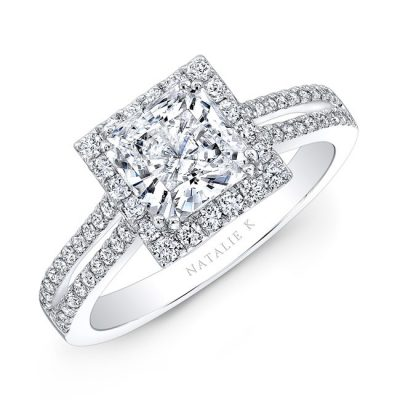 nk28103 w three qrtr 3 400x400 - 18K WHITE GOLD SPLIT SHANK SQUARE HALO DIAMOND ENGAGEMENT RING