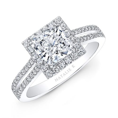 nk28103 w three qrtr 3 500x499 - 18K WHITE GOLD SPLIT SHANK SQUARE HALO DIAMOND ENGAGEMENT RING