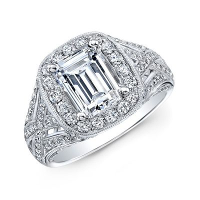 nk31548 18w three qrtr 400x400 - 18K WHITE GOLD VINTAGE-INSPIRED DIAMOND HALO ENGAGEMENT RING