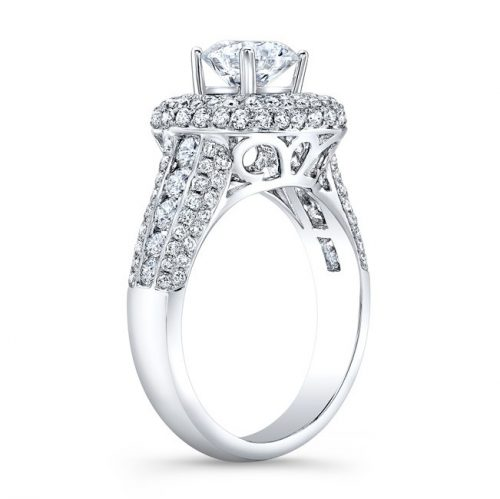 nk31702 18w side profile 1 500x499 - 18K WHITE GOLD MICRO PAVE PRINCESS CUT HALO DIAMOND ENGAGEMENT RING WITH SIDE STONES NK22438-W