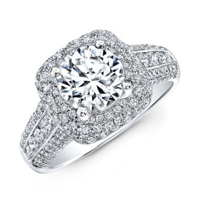 nk31702 18w three qrtr 400x400 - 18K WHITE GOLD VINTAGE-INSPIRED PAVE DIAMOND ENGAGEMENT RING