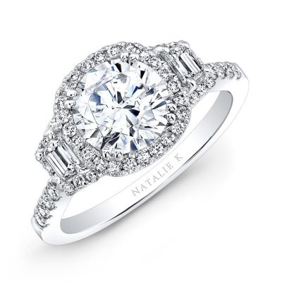 nk31778 pl three qrtr 400x400 - PLATINUM DIAMOND HALO ENGAGEMENT RING