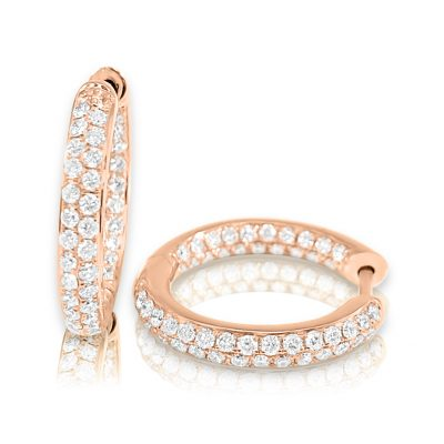 CER327 Rose 400x400 - BOVA SIGNATURE -14K ROSE GOLD  DIAMOND 0.91CT HUGGY EARRING -R CER327