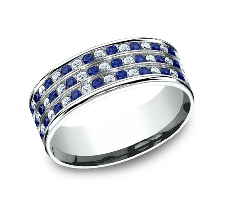 CF528558PT P1 - 8MM  DIAMOND AND BLUE SAPPHIRE BAND CF528558PT