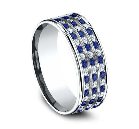 CF528558PT P2 - 8MM  DIAMOND AND BLUE SAPPHIRE BAND CF528558PT