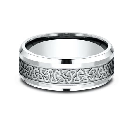 CF808357W P3 - 8MM WHITE GOLD  DESIGN BAND CF808357W