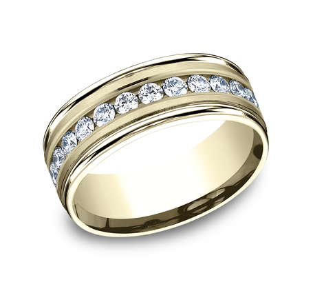 RECF518516Y P1 - 8MM  YELLOW GOLD DIAMOND BAND RECF518516Y