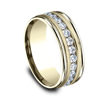 RECF518516Y P2 - 8MM  YELLOW GOLD DIAMOND BAND RECF518516Y