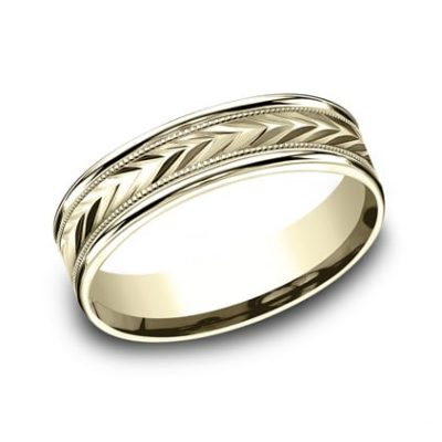 RECF7603Y P1 400x400 - 6MM YELLOW GOLD  DESIGN BAND RECF7603Y